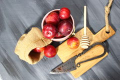 Overhead shot of Red Cherry plums Stock Photos