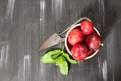 Overhead shot of Red Cherry plums Stock Image