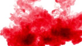 Overhead shot. Red paint mix in water and move in slow motion. Use for inky background or backdrop with smoke or ink
