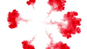 Overhead shot. Red pigment swirls in water and move in slow motion. Use for inky background or backdrop with smoke or stock video