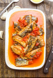 Overhead shot sardine fillets stewed with tomato sauce Royalty Free Stock Photo