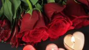 Overhead shot of Valentines Day items. In hd stock footage