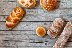 Overhead Shot Of Various Breads Stock Photos