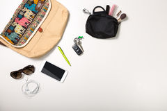 Overhead shot of woman stuff isolated on white Stock Images