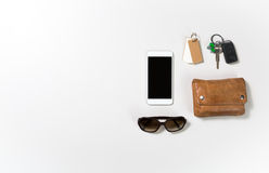 Overhead shot of woman stuff  on white Stock Photo