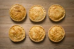 Overhead of Six Cooked Whole Pies on Wooden Surface. Overhead shot of six cooked whole meat pies on wooden surface royalty free stock photo