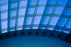 Overhead skylight window. A view of an arched, overhead skylight window in a building Stock Photo