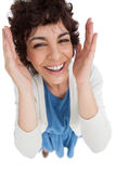 Overhead of smiling woman with hands wide opened Stock Photography