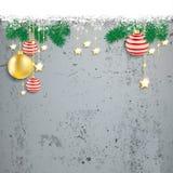 Overhead Snowflakes Red Golden Baubles Concrete Stock Photos