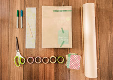 Overhead of supplies to cover a school book Royalty Free Stock Images