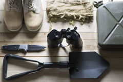 Overhead of survival kit Stock Images
