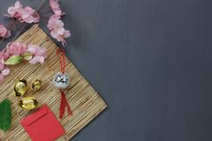 Overhead of top the important ornaments items for Happy Chinese new year background concept. Essential accessory for the festival.Mix several necessary object royalty free stock photography