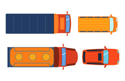 Overhead top view on colorful car toys different pickup automobile transport and collection wheel transportation design Stock Image