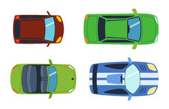 Overhead top view on colorful car toys different pickup automobile transport and collection wheel transportation design Stock Photos