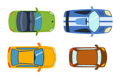 Overhead top view on colorful car toys different pickup automobile transport and collection wheel transportation design Stock Images