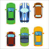 Overhead top view on colorful car toys different pickup automobile transport and collection wheel transportation design Royalty Free Stock Photography