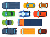 Overhead top view on colorful car toys different pickup automobile transport and collection wheel transportation design. Vector illustration. Traffic roof motor Stock Images