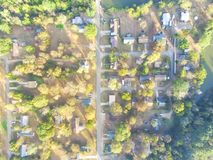 Scenic aerial view of green suburban area of Ozark, Arkansas, US. Overhead top view green suburban area of Ozark, Arkansas, USA. Aerial residential neighborhood royalty free stock images