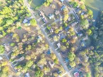 Scenic aerial view of green suburban area of Ozark, Arkansas, US. Overhead top view green suburban area of Ozark, Arkansas, USA. Aerial residential neighborhood stock photography