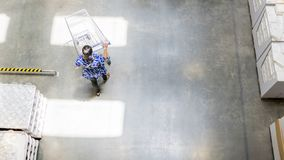 Overhead top view of people walk with shopping trolley cart at t stock photos