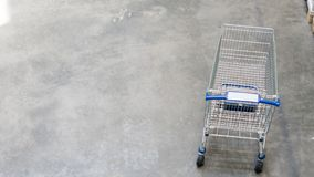 Overhead top view of shopping trolley cart at the pedestrian con stock images