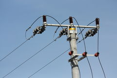 Overhead transmission line support Royalty Free Stock Photo