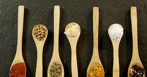 Various spices arranged in a spoon 4k. Overhead of various spices arranged in a spoon 4k stock video