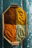 Various spices arranged in tray Stock Photos