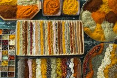 Various spices arranged in tray Royalty Free Stock Photo