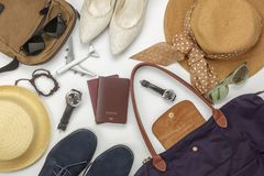 Overhead view of accessory travel and fashion men&women concept. Background.Difference objects for adult or teenage and traveler.Essential items for trip on the royalty free stock images