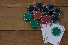 Overhead view of aces and chips Royalty Free Stock Photo