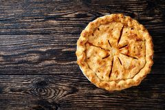 Overhead view of american apple pie royalty free stock photography