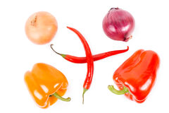 Onions, bell peppers and chilli peppers Stock Photo