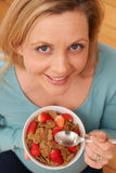 Overhead View Of Attractive Woman Enjoying Healthy Breakfast Stock Image