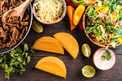 Overhead view on authentic mexican street taco Royalty Free Stock Image