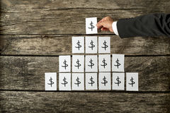 Overhead view of banker or financial adviser arranging white car Royalty Free Stock Images