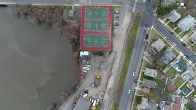 Overhead View of Basketball Court and Baseball Fields. Overhead Aerial View of Basketball Court and Baseball Fields stock video footage