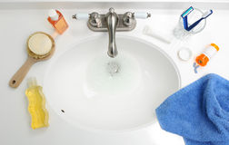 Overhead View of Bathroom Sink Stock Photo