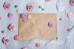 Overhead view of beautiful scattered pink flower background. stock images