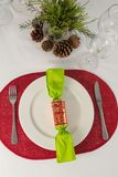 Beautiful table setting for an occasion. Overhead view of beautiful table setting for an occasion Stock Photo