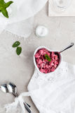 Overhead View of Beetroot dip or raita in decorative ceramic heart shaped dish Stock Photos