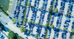 Overhead view of big car parking Stock Photo
