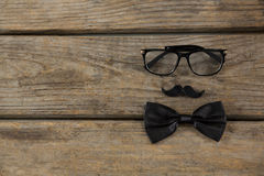 Overhead view of bow tie with mustache and eyeglasses Stock Photo