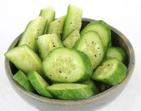 Overhead View Bowl Cucumbers Stock Photos