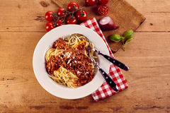 Overhead view of bowl of spaghetti bolognese Stock Images