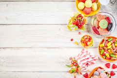 Overhead view of bowls filled with candy Stock Images
