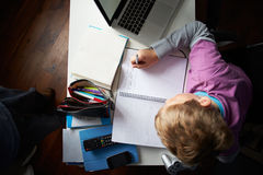 Overhead View Of Boy Studying In Bedroom Royalty Free Stock Image