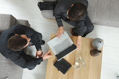 Overhead view of business meeting Royalty Free Stock Images
