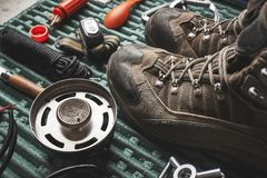 Camping gear on a table stock photography