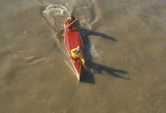 Overhead view of Canoe race, Delaware River, Catskills, Callicoon, NY Stock Photography